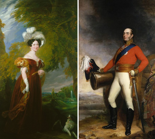 Victoria Duchess of Kent, Queen Victoria's Mother and Edward Duke of Kent, Queen Victoria's Father. Images sourced from Royal Collection Trust