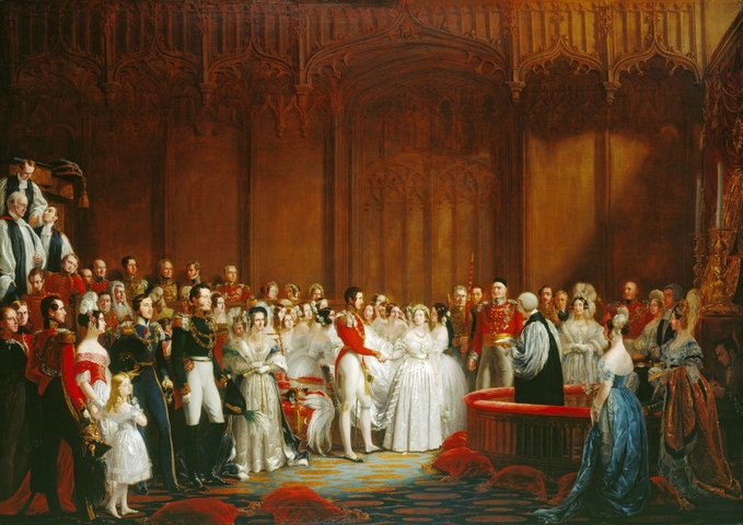 The wedding of Queen Victoria and Prince Albert, 1840. Image sourced from Royal Collection Trust