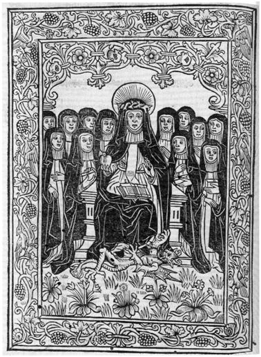 Woodcut of St Catherine of Siena from Wynkyn de Worde's printed edition The Orcherd of Syon (1519)