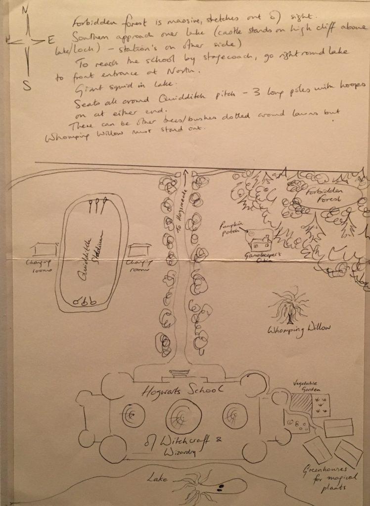 J K Rowling's Hogwarts drawing