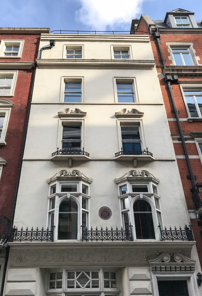 Fanny Burney house, 11 Bolton Street, London