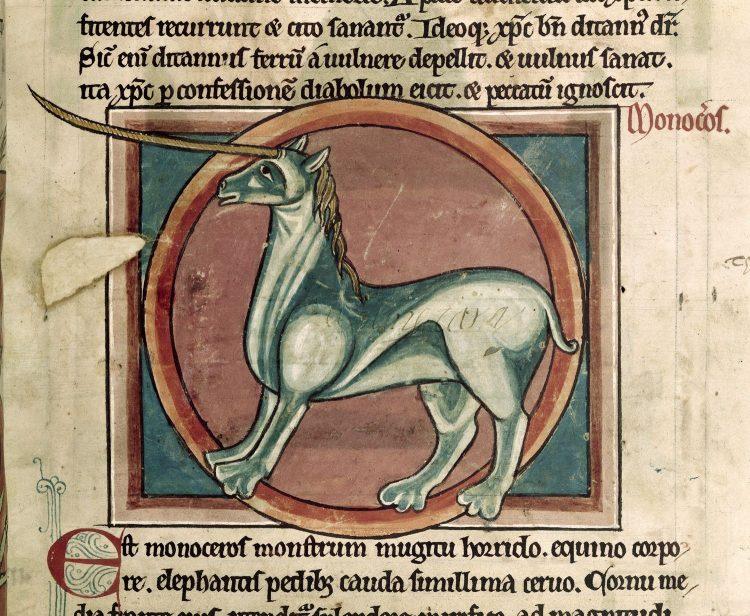 Unicorn bestiary manuscript British Library Harley 4751 13 century