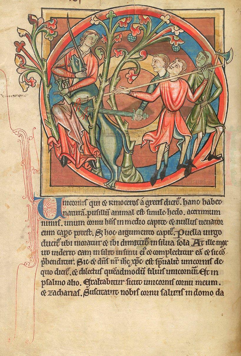 Unicorn attack manuscript, British Library Harley 4751