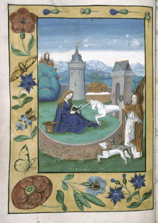 Unicorn with Virgin Mary manuscript Grote Geert Book of Hours MS McClean 99 Fitzwilliam Museum 16 century