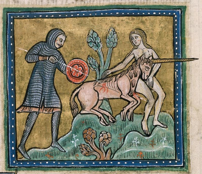 Unicorn hunt bestiary manuscript Rochester Bestiary British Library 13 century