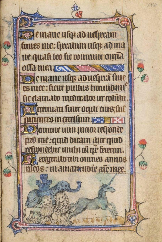 Unicorn and elephant manuscript Taymouth Hours Yates Thompson 13 British Library